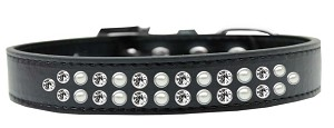 Two Row Pearl and Clear Crystal Size 18 Black Dog Collar